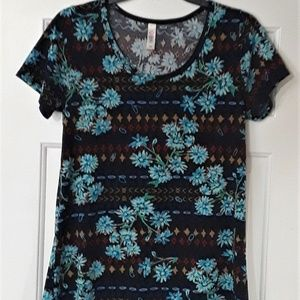 LuLaRoe Classic T Black and Blue Floral - XS